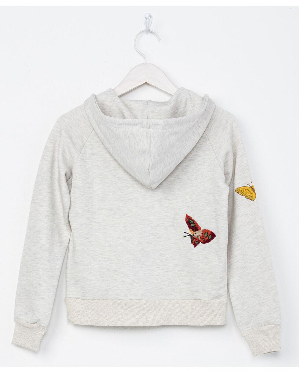 Miss Me Girls' Butterfly Effect Hoodie, Light Grey, hi-res