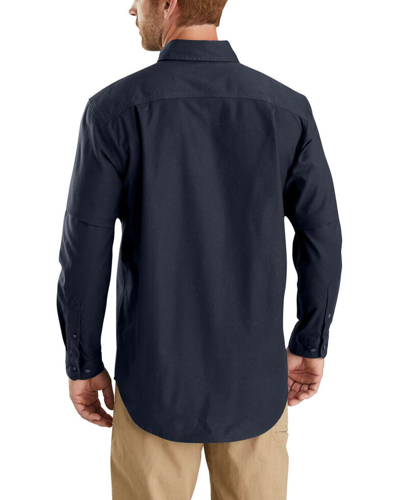 Carhartt Men's Rugged Flex Rigby Long Sleeve Work Shirt - Tall , Navy, hi-res