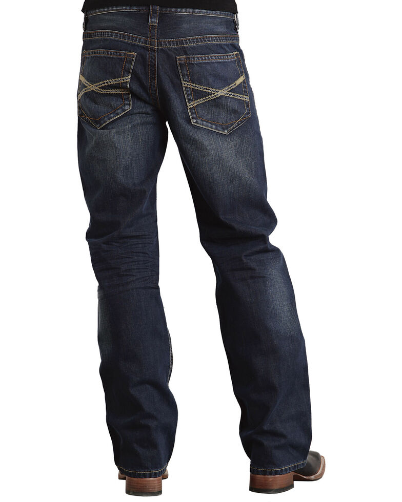 """Stetson Modern Fit Classic """"X"""" Stitched Jeans, Dark Stone, hi-res"""