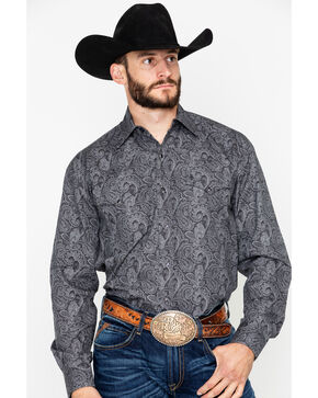 Stetson Men's Black Paisley Print Long Sleeve Western Shirt , Black, hi-res