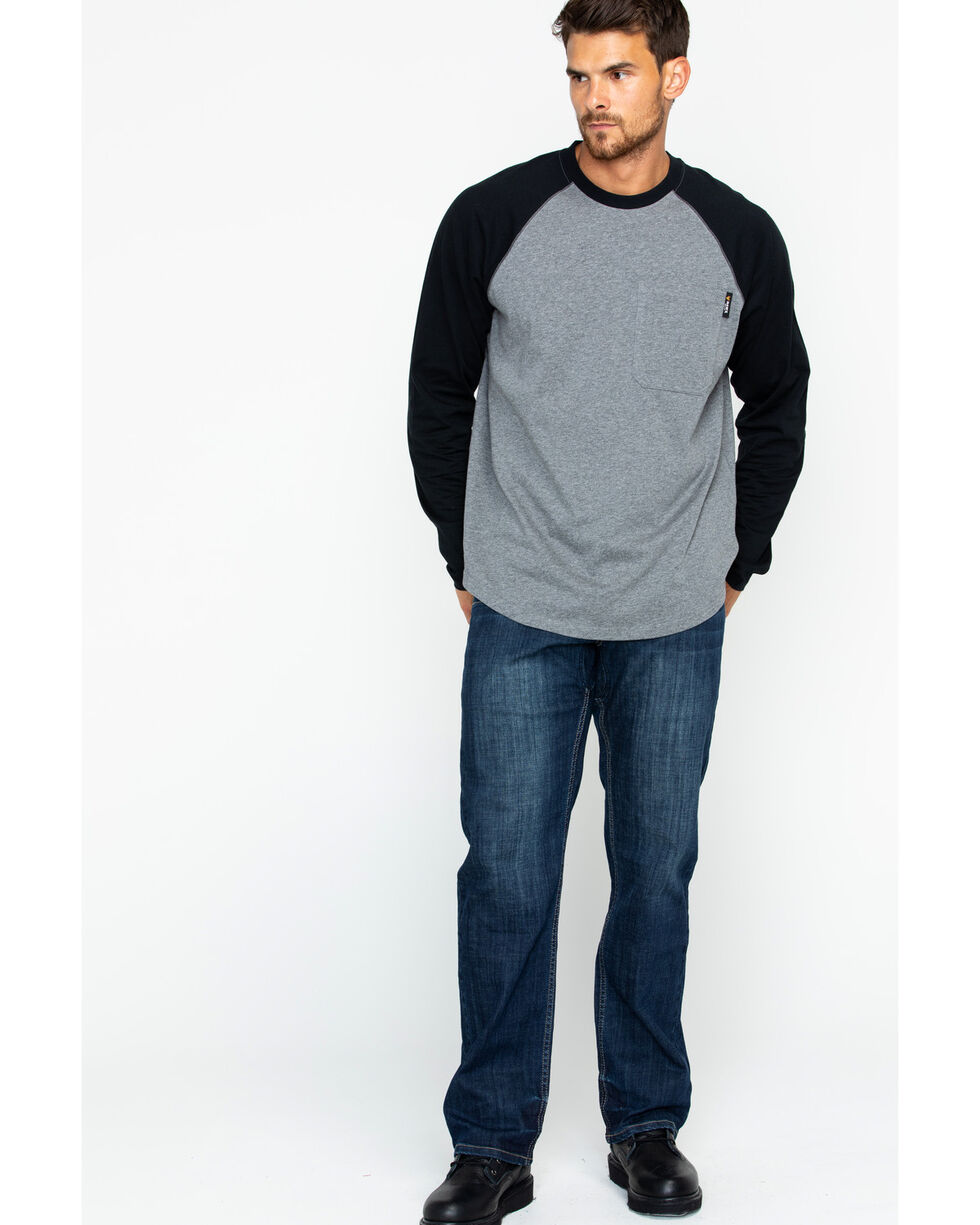 Hawx® Men's Solid Long Sleeve Baseball Raglan Crew Work Shirt , Heather Grey, hi-res