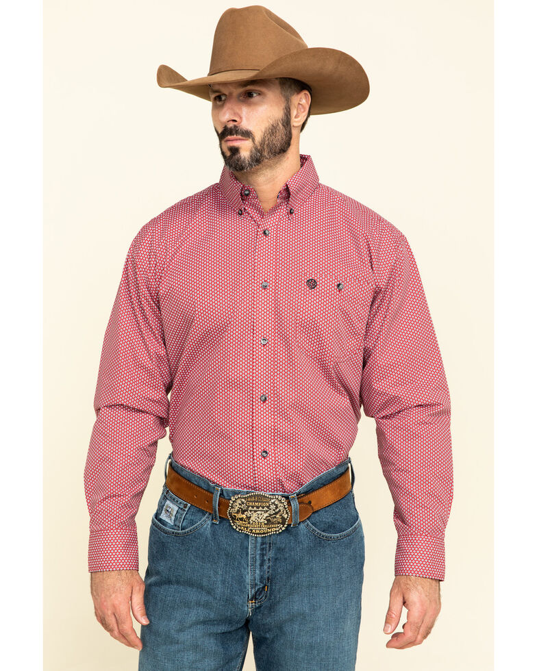 George Strait By Wrangler Men's Red Small Geo Print Long Sleeve Western Shirt - Big , Red, hi-res