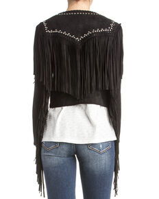 Miss Me Women's Embellished Fringe Jacket, Black, hi-res