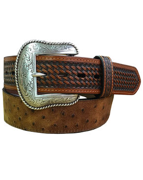 Roper Men's Cognac Ostrich Print Leather Belt , Cognac, hi-res