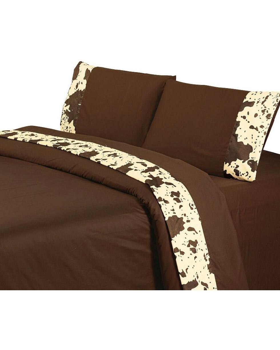 HiEnd Accents Printed Cowhide 4-Piece King Sheet Set, Multi, hi-res