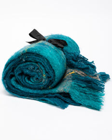 BB Ranch Teal Plaid Mohair Throw, Teal, hi-res