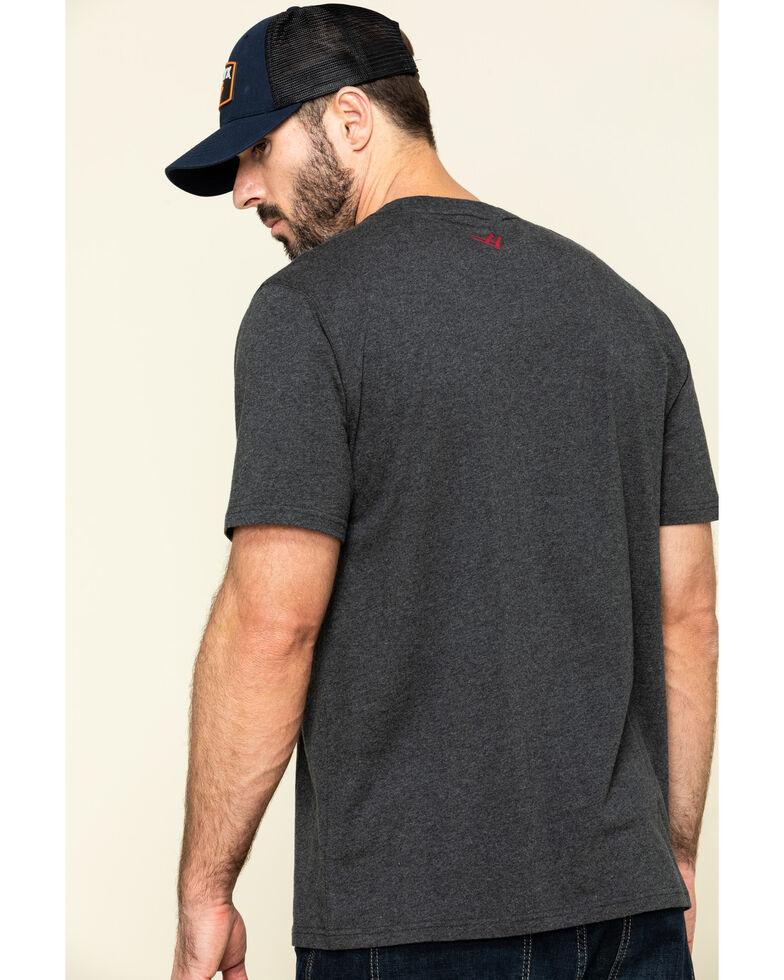 Hawx Men's Grey Back Logo Graphic Work T-Shirt , Charcoal, hi-res