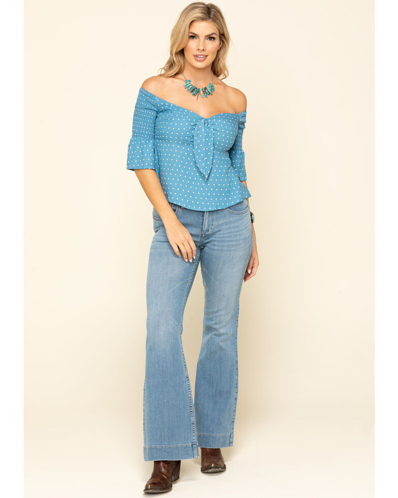 Idyllwind Women's Dreamer Off The Shoulder Polka Dot Top, Blue, hi-res