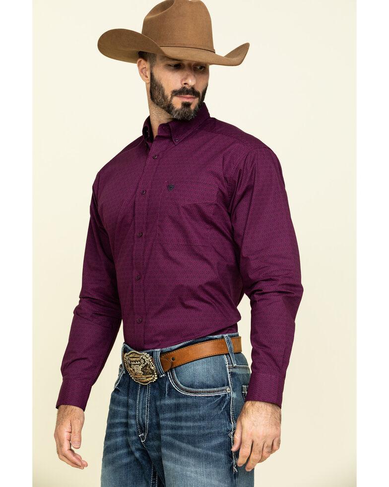 Ariat Men's Isherwood Triangle Geo Print Long Sleeve Western Shirt - Tall , Purple, hi-res