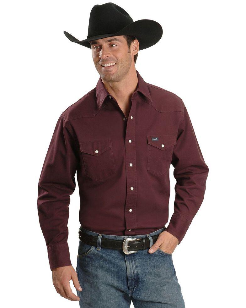 Wrangler Men's Solid Twill Cowboy Cut Long Sleeve Work Shirt - Tall, Burgundy, hi-res