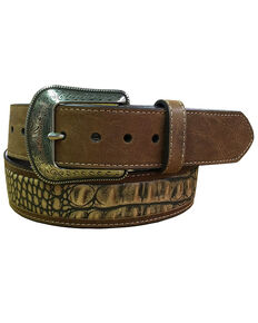 "G-Bar-D Men's Brown ""Croco"" Print Leather Belt , Brown, hi-res"