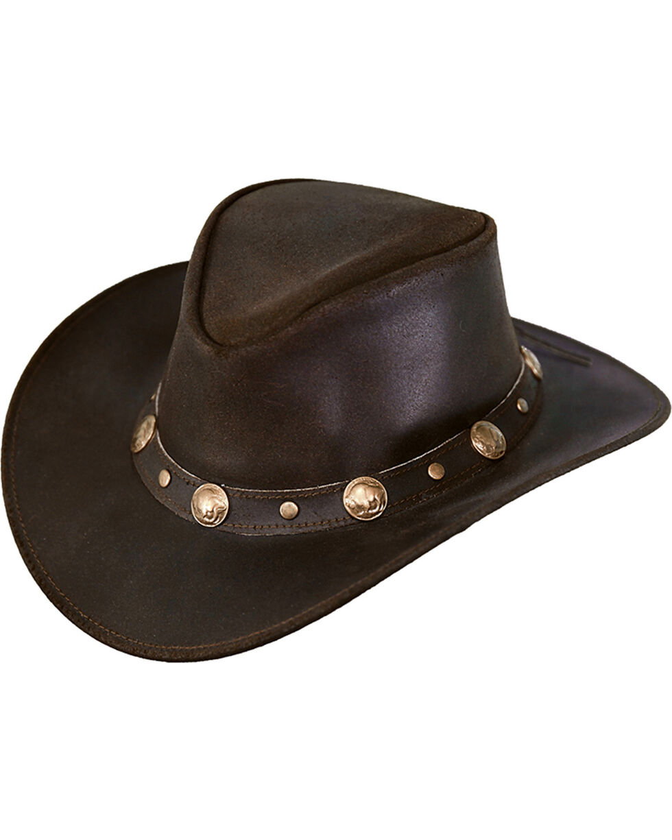 Outback Trading Co. Men's Rawhide Leather Hat, Chocolate, hi-res