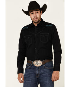 Rock 47 By Wrangler Men's Black Embroidered Long Sleeve Western Shirt , Black, hi-res