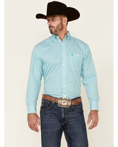 George Strait By Wrangler Men's Emerald Fan Geo Print Long Sleeve Button-Down Western Shirt , Turquoise, hi-res