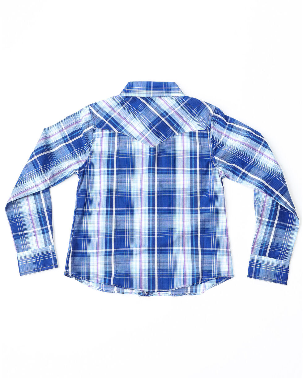 Cumberland Outfitters Girls' Plaid Embroidered Yoke Long Sleeve Shirt , Purple, hi-res