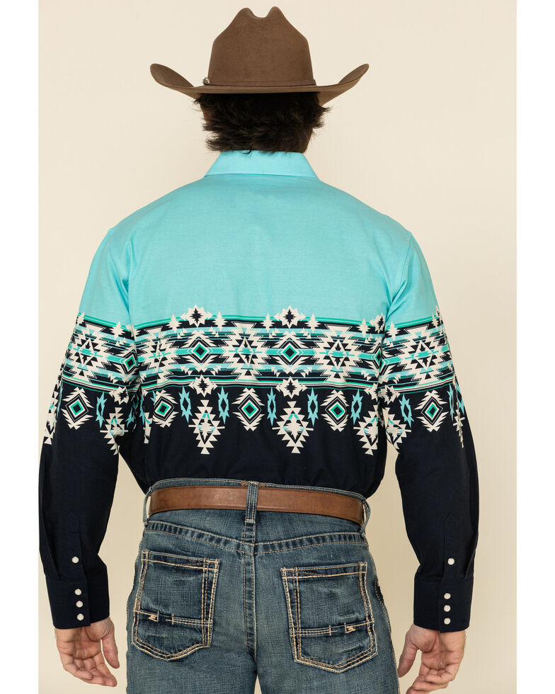 Panhandle Men's Blue Aztec Scenic Border Print Long Sleeve Western Shirt , Blue, hi-res
