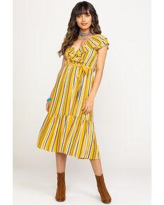 Flying Tomato Women's Mustard Stripe Surplice Dress, Dark Yellow, hi-res