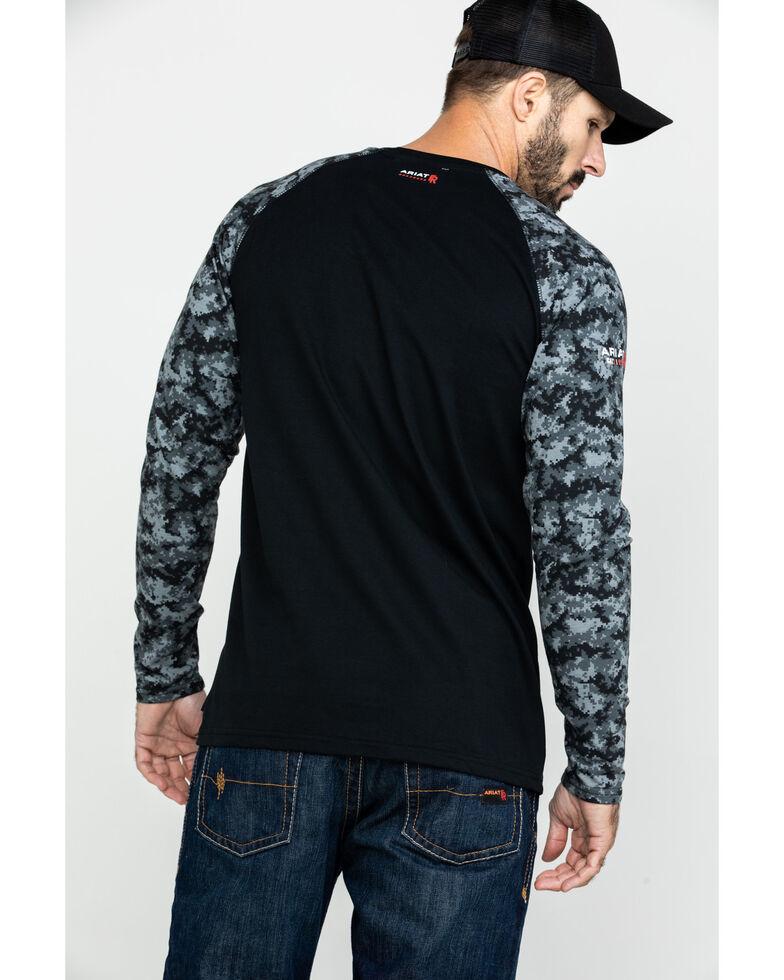 Ariat Men's Grey Camo FR Baseball Long Sleeve Work Shirt , Camouflage, hi-res