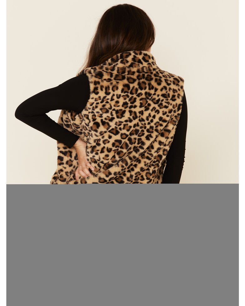 Cripple Creek Women's Multi Leopard Print Faux Fur Vest, Multi, hi-res