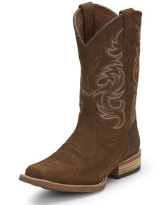 Justin Men's Cowman Acorn Western Boots - Wide Square Toe, Brown, hi-res