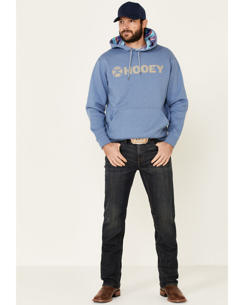 HOOey Men's Blue Lock-Up Logo Graphic Hooded Sweatshirt , Blue, hi-res