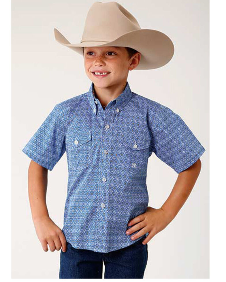 Roper Boys' Amarillo Blue Geo Print Button Long Sleeve Western Shirt , Blue, hi-res