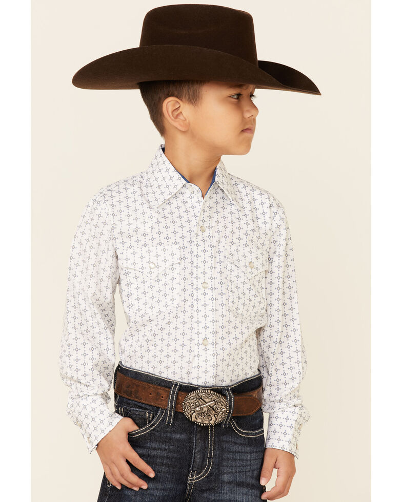 Ely Walker Boys' White Geo Print Long Sleeve Snap Western Shirt , White, hi-res
