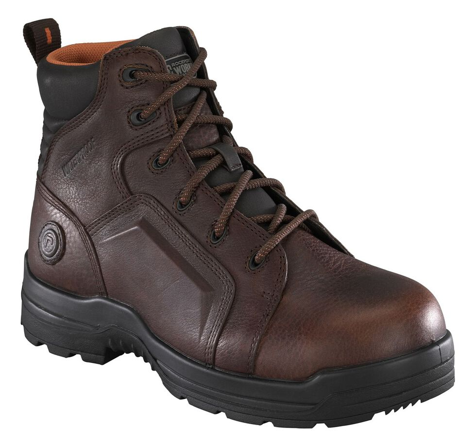 """Rockport Women's More Energy Brown 6"""" Lace-Up Work Boots - Composite Toe, Brown, hi-res"""