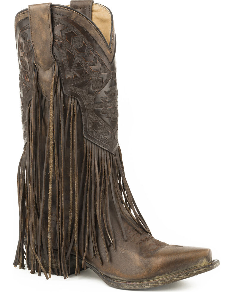 615ac3d17 Zoomed Image Stetson Women's Brown Sloane Fringe Boots - Snip Toe , Brown,  hi-res