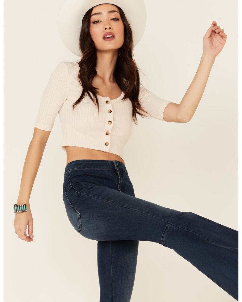 Miss Me Women's Pointelle Ribbed Button-Down 3/4 Sleeve Crop Top , Cream, hi-res
