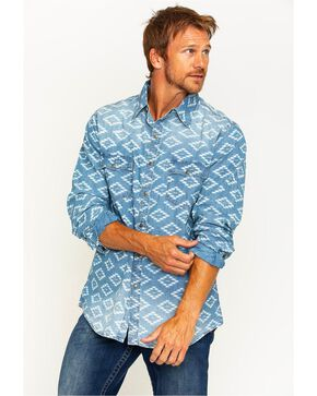 Ryan Michael Men's Aztec Diamond Indigo Western Shirt , Indigo, hi-res