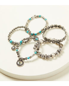Shyanne Women's Shimmer Concho Stretch Beaded Bracelet Set, Silver, hi-res