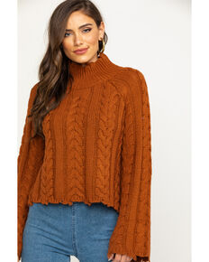 Elan Woman's Rust Cable Knit Raw Edge Sweater, Rust Copper, hi-res