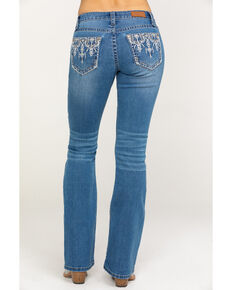 Shyanne Women's Light Wash Faux Flap Bling Bootcut Jeans, Blue, hi-res