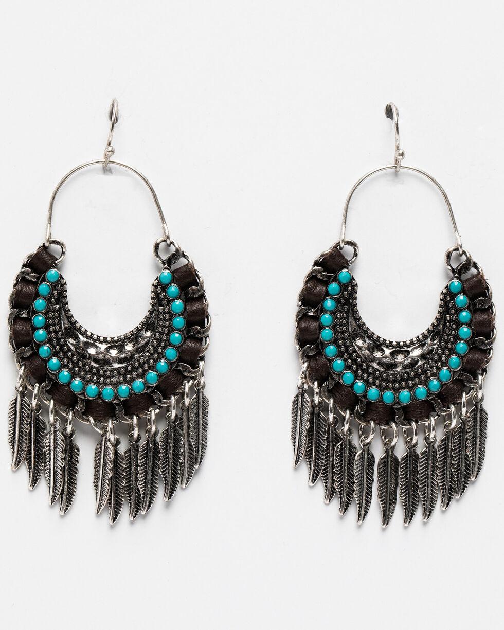 Shyanne Women's Leather Wrapped Fringe Frenzy Hoop Earrings , Silver, hi-res