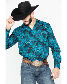 Cody James Men's Black El Matador Paisley Print Long Sleeve Western Shirt, Black, hi-res