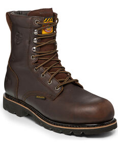 Justin Men's Miner Waterproof Insulated Lace-Up Work Boots - Composite Toe , Brown, hi-res