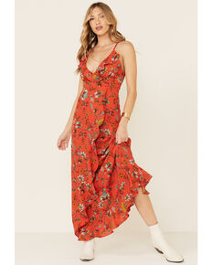 Molly Bracken Women's Red Floral Print Lace Dress, Red, hi-res