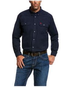 Ariat Men's Navy FR Featherlight Long Sleeve Button-Down Work Shirt - Tall , Navy, hi-res