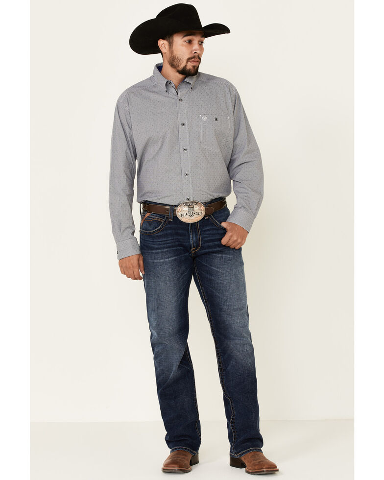 Ariat Men's Embody Stretch Small Dobby Plaid Long Sleeve Western Shirt , Black, hi-res