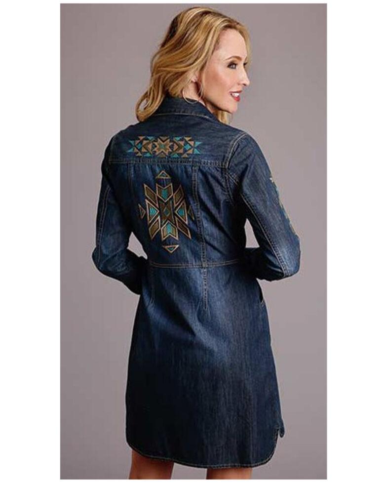 Stetson Women's Aztec Embroidered Long Sleeve Western Shirt Dress, Blue, hi-res