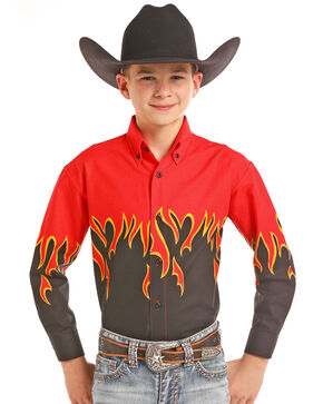 Panhandle Boys' Flame Border Print Long Sleeve Western Shirt , Red, hi-res