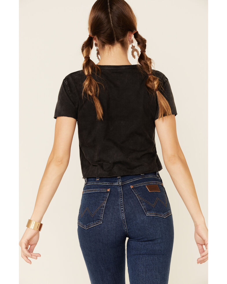 Country Deep Women's Black Whiskey Bent Graphic Cropped Tee , Black, hi-res