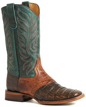 Roper Women's Brown Sami Saddle Vamp Caiman Belly Boots - Square Toe, Brown, hi-res