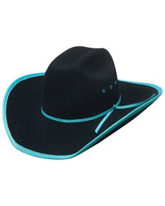 Bullhide Leave Your Mark Colorful Brim Kids' Cowboy Hat, Turquoise, hi-res