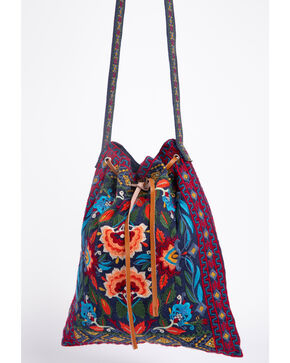 Johnny Was Women's Izamal Embroidered Drawstring Tote Bag , Navy, hi-res