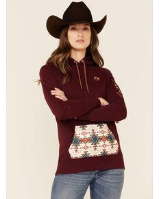 HOOey Women's Maroon Aztec Pocket Logo Sleeve Pullover Hoodie , Maroon, hi-res