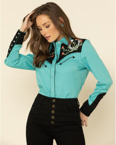 Scully Women's Horseshoe Embroidered Retro Western Shirt, Turquoise, hi-res