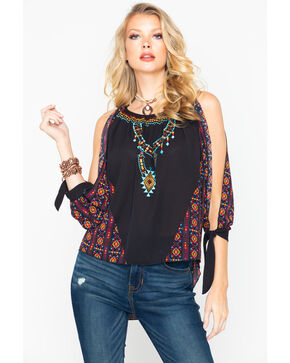 Rock & Roll Cowgirl Women's Aztec Off Shoulder Blouse , Black, hi-res