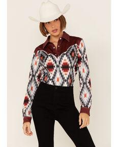 Ranch Dress'n Women's Ember Aztec Print Piped Yoke Long Sleeve Snap Western Core Shirt , Multi, hi-res